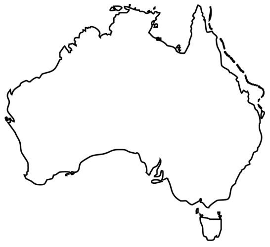 Mapa Australii Kolorowanka Dla Dzieci O Mapie Australii